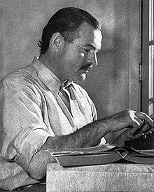 earnest hemingway at his typewriter