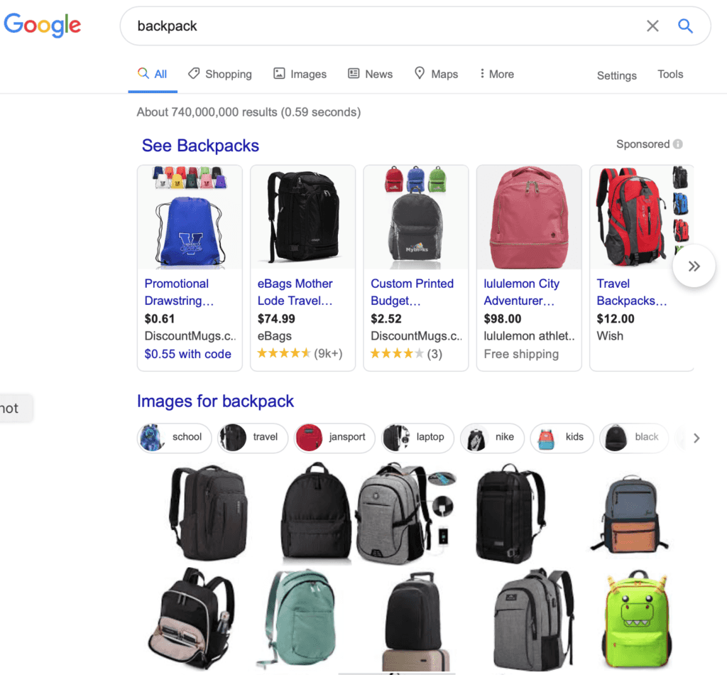 Pictures of backpacks from Google