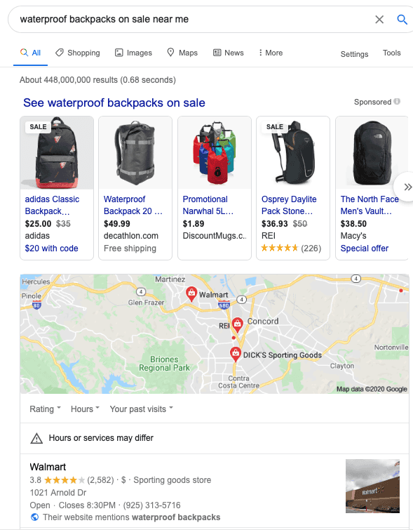 Google search results with pictures of backpacks and a map of stores near my location selling backpacks